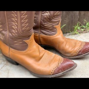 Tony Lama Shoes - Vintage 1980s  Lizard Toe Tony Lama Cowboy boots